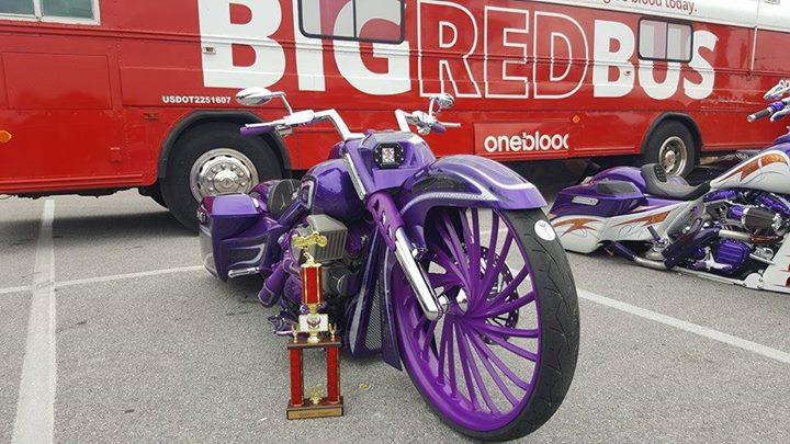 The FLG custom bagger won the baddest bagger 30-inch in Panama City! This bike w… image