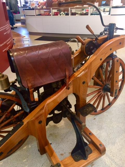 Check this out—can you imagine riding this antique?? This is what the first gas-...