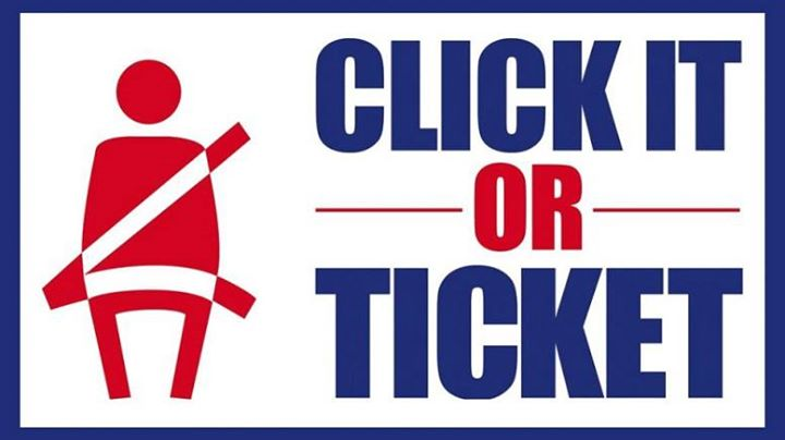 "Buckle up, or run the risk of getting a ticket! The NHTSA's annual ""Click It or … image"
