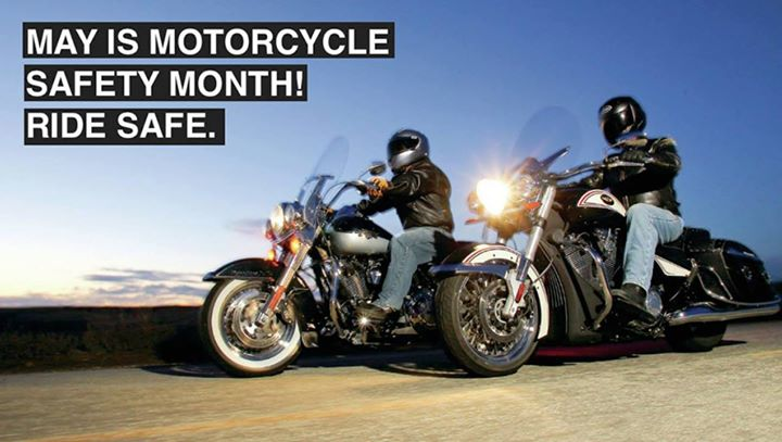 May is  #MotorcycleSafetyAwarenessMonth. Motorcyclists at Quaker Steak and Lube … image