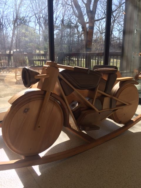 Forget about a rocking horse: how about a rocking motorcycle with its own sideca… image