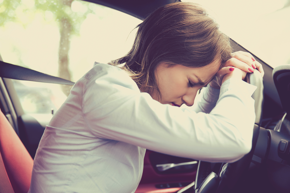 woman sleeping while driving